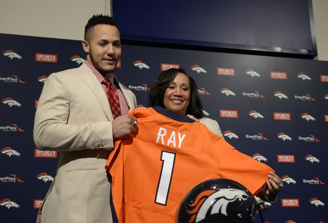 CENTENNIAL, CO - MAY 01: The Denver Broncos first round draft pick Shane Ray with his mother Sabrina Johnson after Ray's press conference at Dove Valley May 01, 2015. (Photo by Andy Cross/The Denver Post)